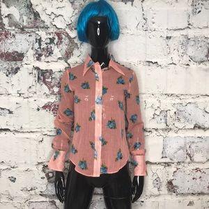 Tucci vintage button down striped floral shirt